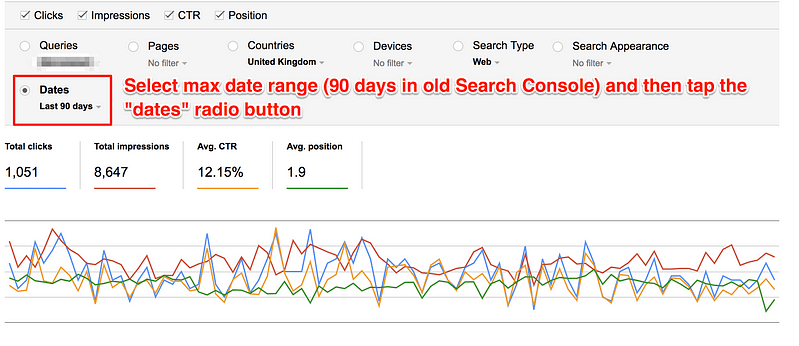 old search console query report