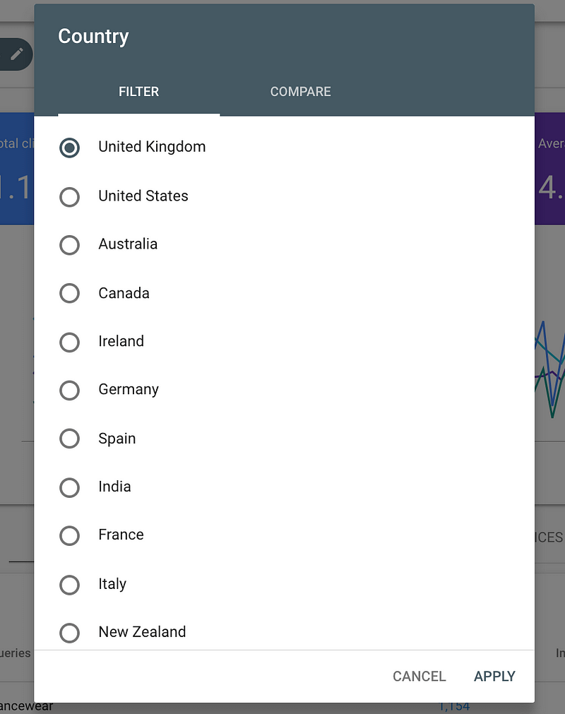 filter by country new search console