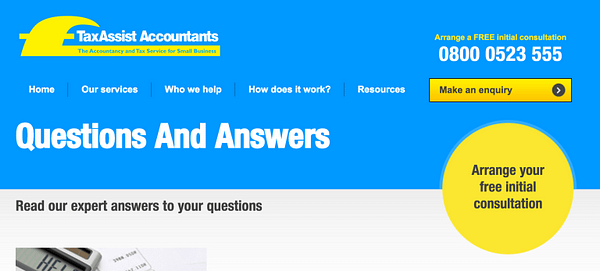 tax assist q and a content marketing