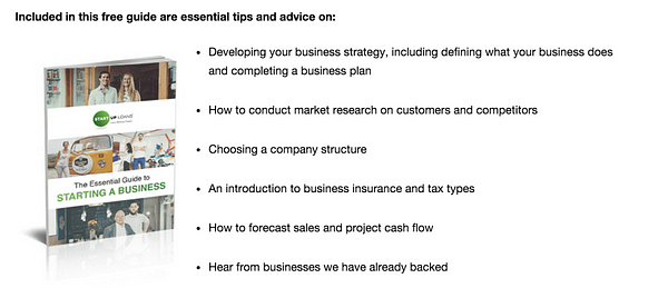 start up loans content marketing